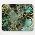 Mousepad Abstract Art Metal Gold Teal Glass 2