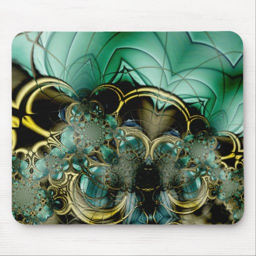 Mousepad Abstract Art Metal Gold Teal Glass 3