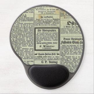 Mousepad alemán del periódico del vintage alfombrilla de raton con gel