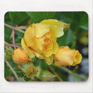 Mousepad amarillo de la impresión de los rosas de  alfombrillas de raton