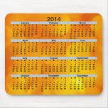 Mousepad amarillo y anaranjado del calendario 2014 tapete de ratones