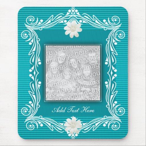 Mousepad añade floral azul de la foto