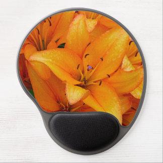 Mousepad anaranjado del gel de la flor del lirio alfombrillas de raton con gel