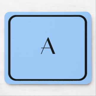 Mousepad azul claro barato con el monograma negro tapete de ratones