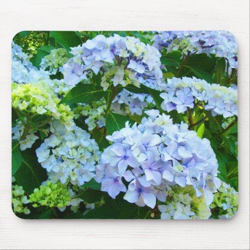 Mousepad azul en colores pastel del jardín de flor