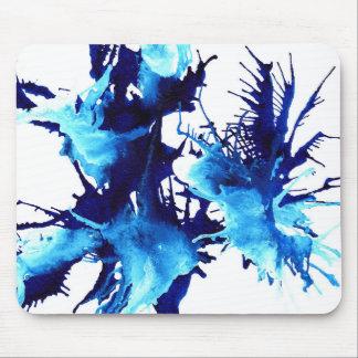 Mousepad azul y blanco abstracto de la pintura
