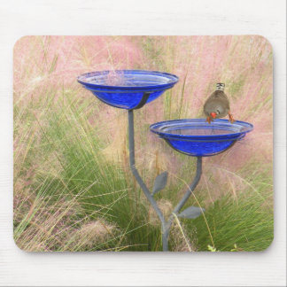 Mousepad, baño azul del pájaro con el pinzón alfombrilla de ratones
