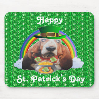 Mousepad Basset Hound Happy St. Patrick's Day