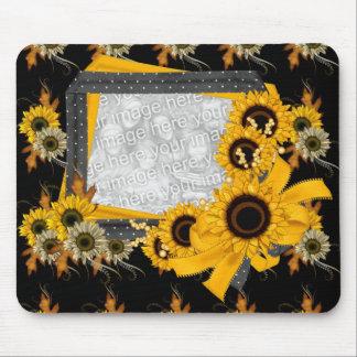 Mousepad Black Yellow Sunflowr Frame Add Photo
