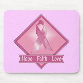Mousepad - cáncer de pecho del amor de la fe de la