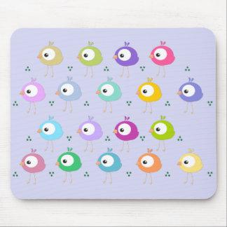Mousepad colorido lindo de los pájaros del dibujo