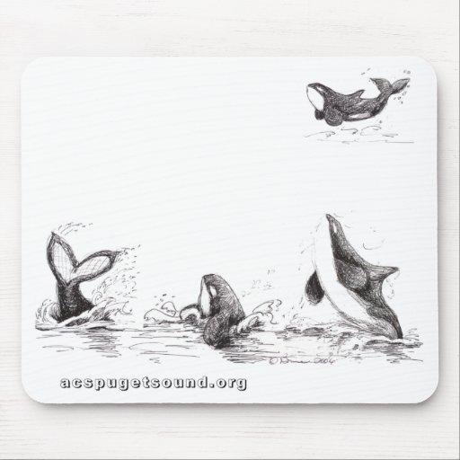 Mousepad con 4 orcas juguetonas