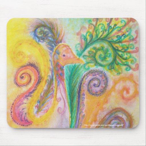 Mousepad con diseño colorido del pájaro de Swirly