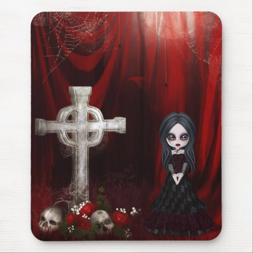 Mousepad con el chica, la cruz, los cráneos y los  tapete de ratón