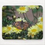 Mousepad con la mariposa y las flores amarillas alfombrilla de raton