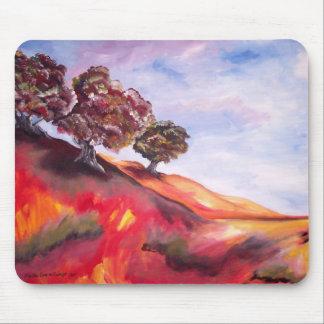 Mousepad con la pintura de paisaje roja del árbol alfombrillas de ratón