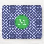 Mousepad con monograma azul y verde alfombrilla de ratón