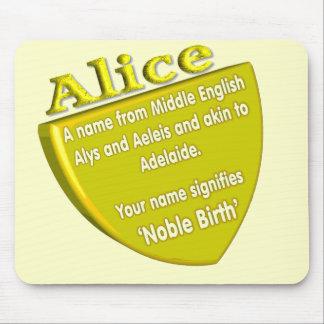 Mousepad conocido Alicia del significado y del ori
