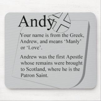 Mousepad conocido Andy del origen y del significad Tapetes De Raton
