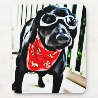 Mousepad cool black lab with goggles and bandana