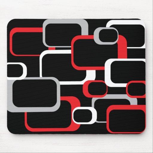 Mousepad cuadrado retro blanco y gris rojo