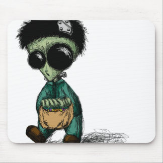 Mousepad, Cute Alien Frankenstein Cartoon