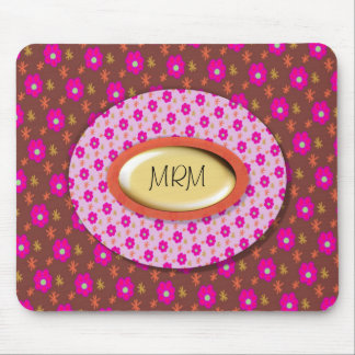 Mousepad: Cute Girly Pink Flowers Mouse Pad