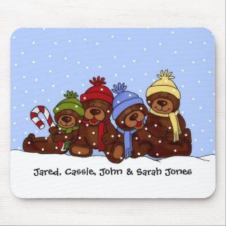 mousepad de 4 de los osos navidad de la familia tapetes de ratones