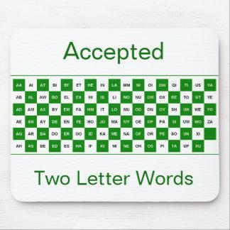 Mousepad de dos palabras de la letra en verde y bl