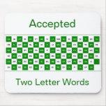 Mousepad de dos palabras de la letra en verde y bl alfombrillas de ratones
