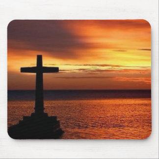 mousepad de la cruz y de la puesta del sol