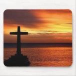 mousepad de la cruz y de la puesta del sol tapete de raton