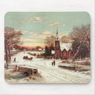 Mousepad de la escena del invierno de la Nochebuen Alfombrilla De Raton