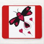 Mousepad de la libélula de los corazones alfombrilla de ratones