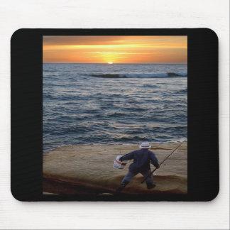 Mousepad de la puesta del sol de la pesca tapetes de raton