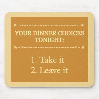 Mousepad de las opciones de la cena