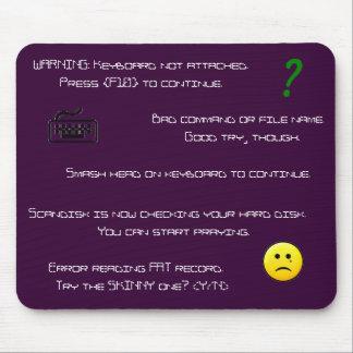 Mousepad de los mensajes de error alfombrillas de ratones
