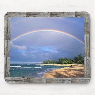 mousepad del arco iris de la costa con el marco de tapetes de raton