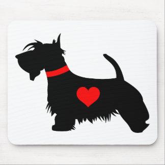 Mousepad del corazón del perro del escocés