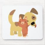 Mousepad del dibujo animado del gatito y del perri tapetes de ratón
