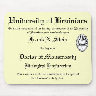 Mousepad del diploma de Franknstein Tapete De Raton
