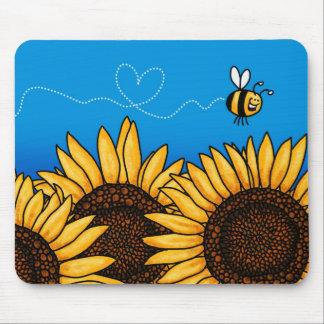 mousepad del girasol del rastro de la abeja