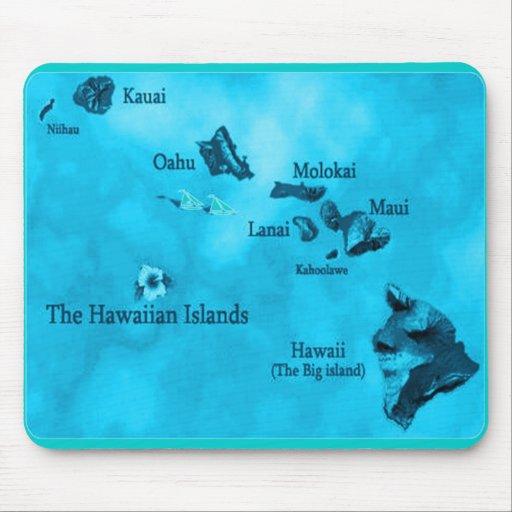 Mousepad del mapa de la isla hawaiana de la turque alfombrillas de raton