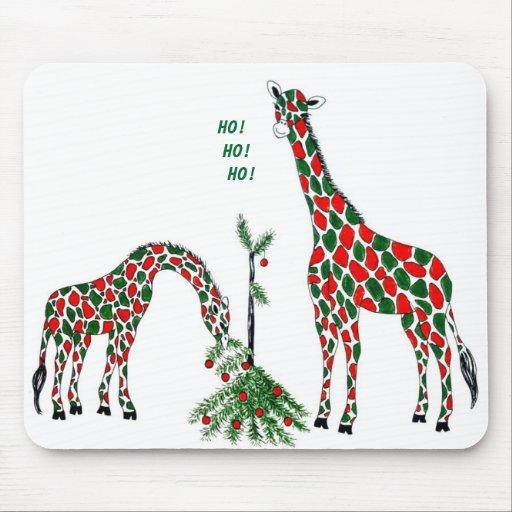 Mousepad del navidad, jirafas lindas del navidad alfombrilla de raton