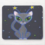 """""""mousepad del negro del gatito del espacio"""" alfombrillas de raton"""