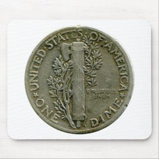 Mousepad del revés de la moneda de diez centavos