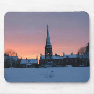 Mousepad, Denholm Green in the snow at sunset Mouse Pad
