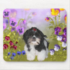 Mousepad Dog Shih Tzu On Coloured Flowers