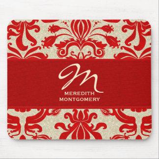 Mousepad el | con monograma rojo y de color topo