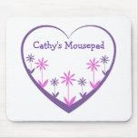 Mousepad, el corazón, las flores, la púrpura, y el alfombrilla de raton